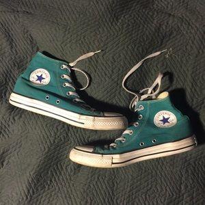 Teal Green Blue High Top Converse